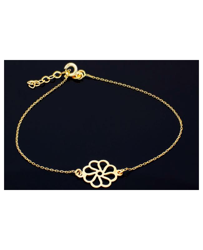Bratara aur 14K dama cu Floricica - Bratari de aur femei Acasa