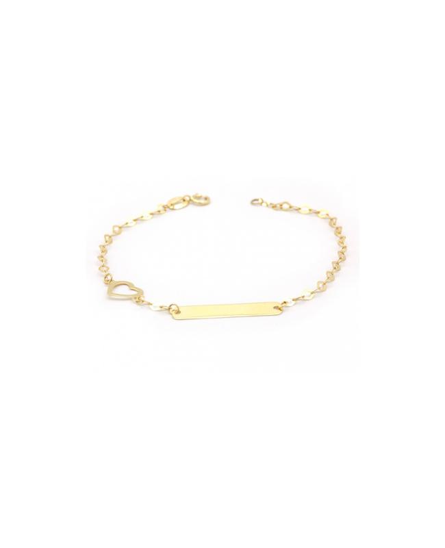 Bijuterii aur galben Bratara copii cu placuta si inimioara Acasa