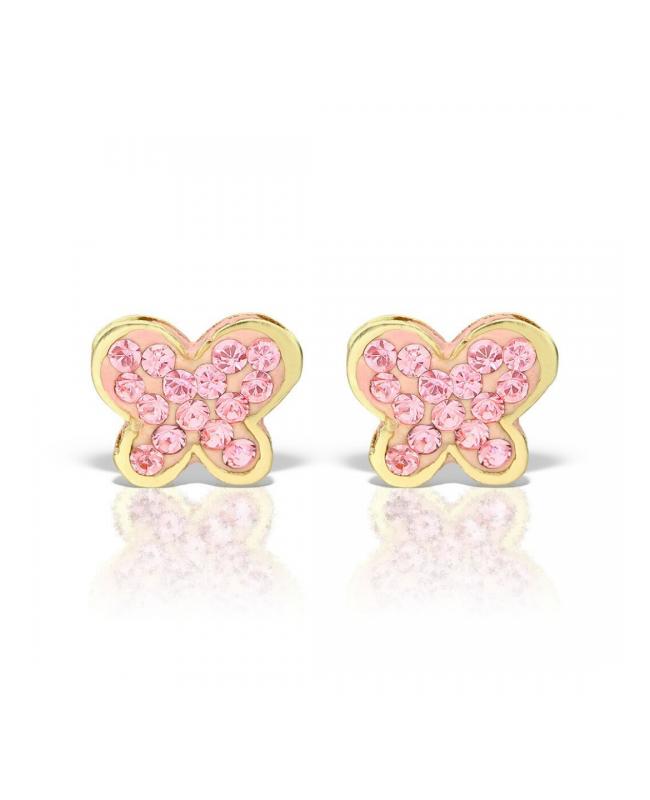 Cercei de aur 14K mici bebelusi nou nascuti Fluturasi pietre mici roz Cercei din aur