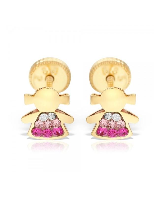 Cercei de aur galben copii bebelusi cu Fetite pietre alb roz Cercei din aur