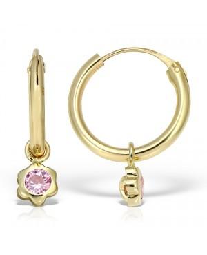 Cercei de aur galben 14K nou nascuti bebelusi Tortite cu piatra roz detasabila 9 mm Cercei din aur