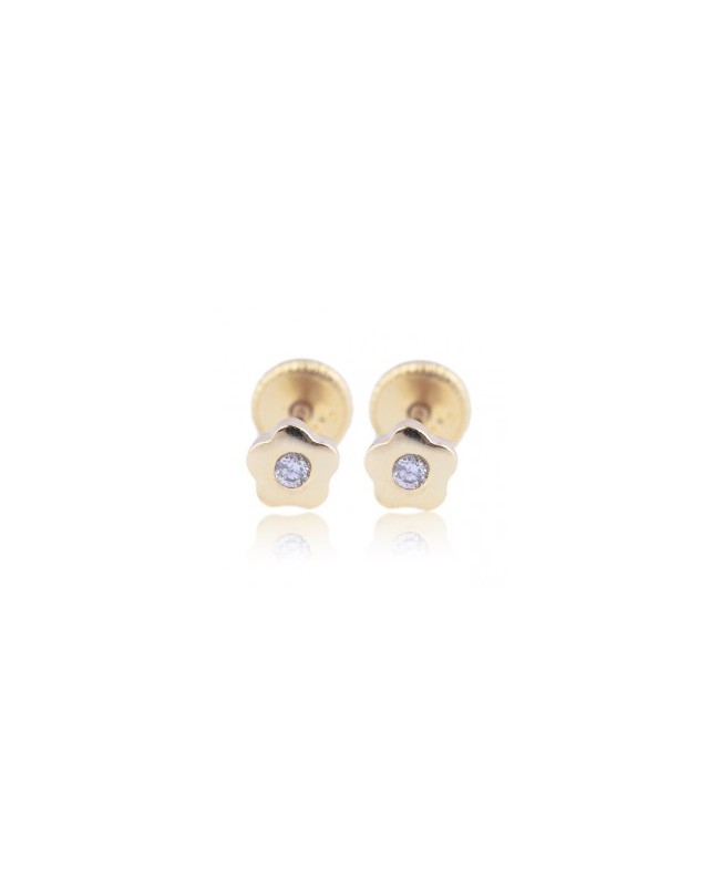 Cercei din aur galben bebelusi nou nascuti Floricele cu piatra alba 4mm Cercei din aur