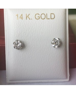 Cercei de aur alb 14K mici bebelusi copii Piatra incolora 4mm Cercei din aur