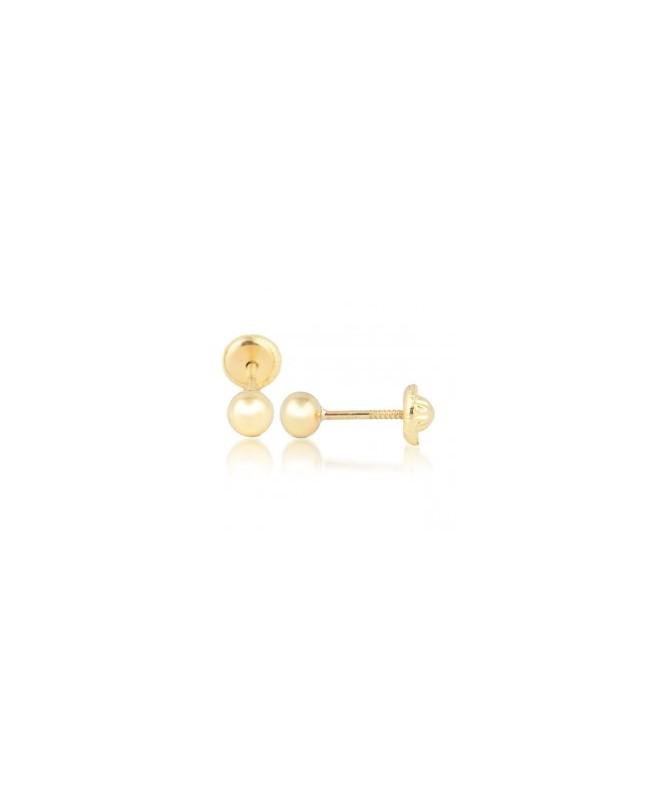 Cercei de aur galben 14k mici nou nascuti copii Bilute 3mm Cercei din aur