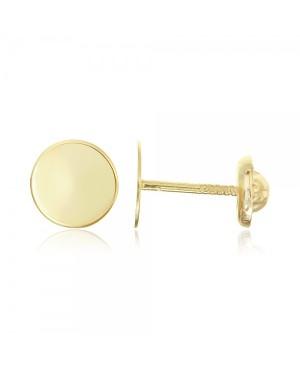 Cercei din aur galben 14k nou nascuti copii Banuti medii 6mm Cercei din aur