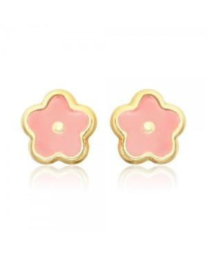 Cercei de aur 14K cu surub nou nascuti bebelusi Flori roz email Cercei din aur