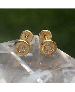 Cercei din aur galben 14k surub fetite copii rotunzi cu pietre 5 mm Cercei din aur