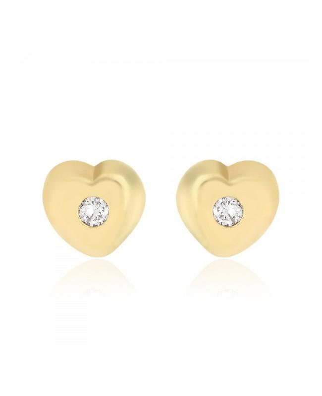 Cercei din aur galben 14K nou nascuti bebelusi Inimioare cu diamant Cercei din aur