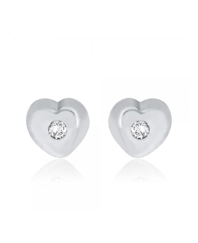 Cercei de aur alb 14K Inimioare cu diamant nou nascuti bebelusi Cercei din aur