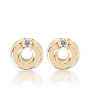 Cercei de aur 14K pentru copii Cerculete 5mm cu diamant Cercei din aur