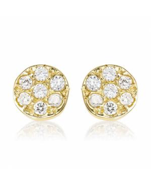 Cercei din aur galben 14k copii bebelusi Rotunzi cu 7 diamante Cercei din aur