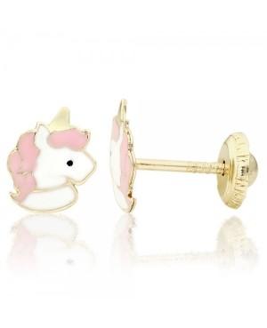 Cercei de aur galben 14K copii bebelusi Unicorni alb roz Cercei din aur