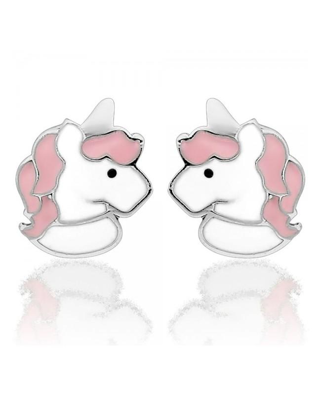 Cercei de aur alb 14K copii bebelusi Unicorni alb roz Cercei din aur
