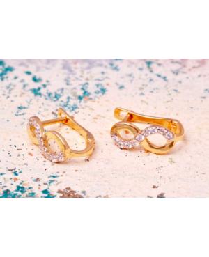 Cercei aur 14K copii si fetite Infinit cu pietre albe 9mm Cercei din aur