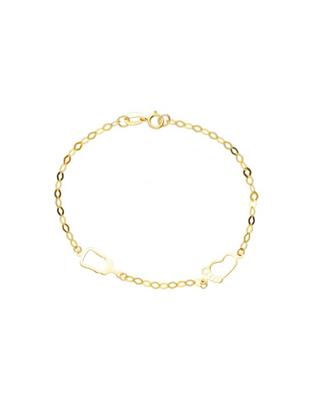 Bijuterii aur galben Bratara copii Biberon si talpa bebe Acasa
