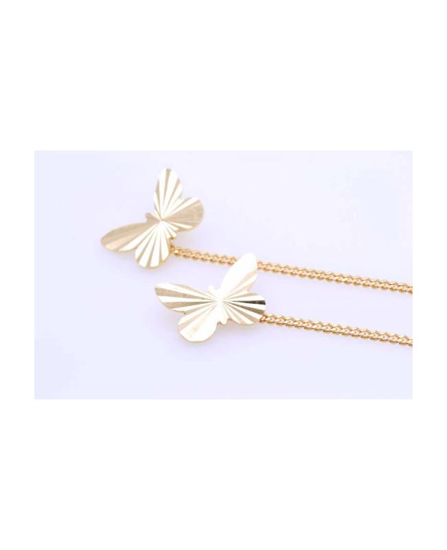 Cercei din aur galben lungi cu lantisor model fluturas 9 mm Cercei aur lungi