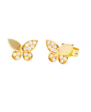 Cercei aur galben 14k dama cu surub Fluturasi cu zirconii Cercei din aur dama