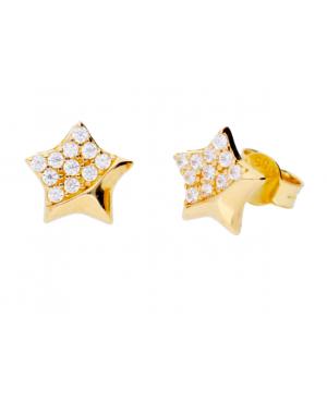 Bijuterii cercei de aur galben dama STELUTE cu zirconii Cercei din aur dama