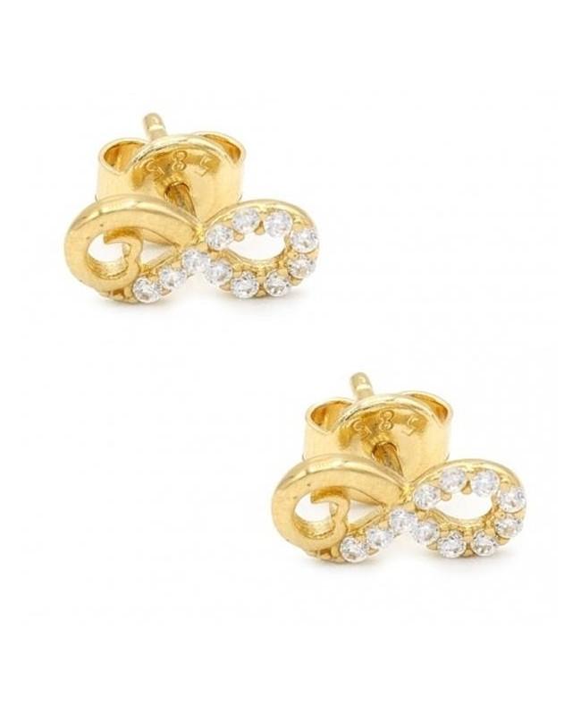 Cercei aur galben 14k dama cu surub Infinit cu pietre inimioara Cercei din aur dama
