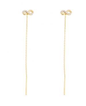 Cercei lungi din aur 14k cu lantisor Infinit cu pietre 7mm Cercei aur lungi