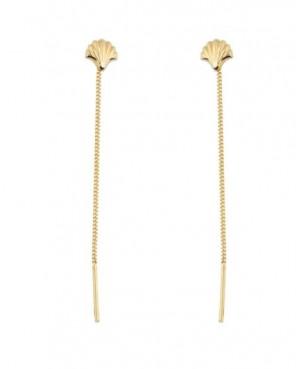 Cercei din aur ieftini cu lantisor pentru femei Scoica Cercei aur lungi