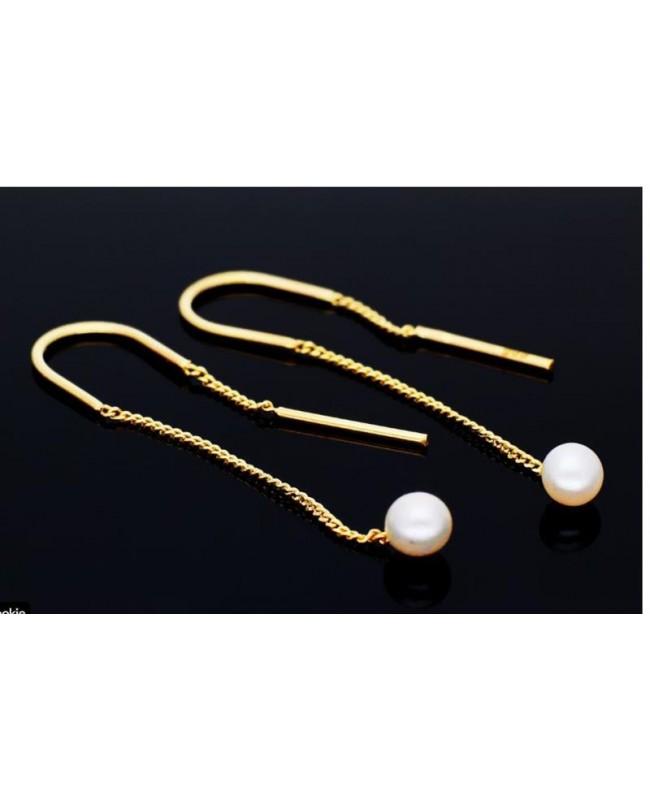 Cercei de aur lungi lantisor dama cu Perle elegante Cercei aur lungi