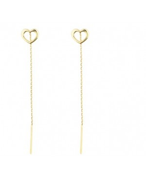 Cercei din aur lungi femei cu lantisor model Inimi goale 7 mm Cercei aur lungi