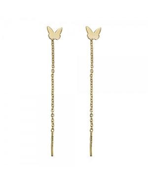 Cercei din aur lungi cu lantisor pentru femei Fluturasi plati Cercei aur lungi