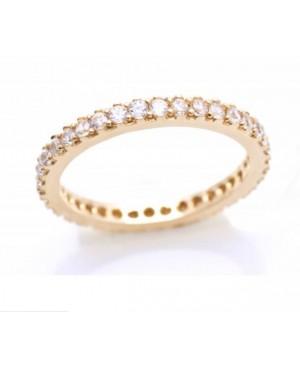 Inel din aur galben 14k tip verigheta cu pietre Zirconiu albe masura 16 Acasa