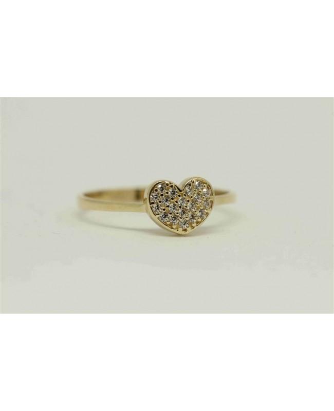 Inel de aur 14k model Inimioara cu pietricele albe masura 13 Acasa