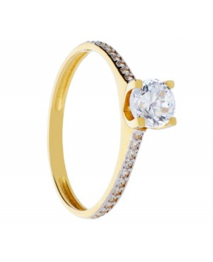 Inel de logodna Solitaire aur galben 14K Acasa
