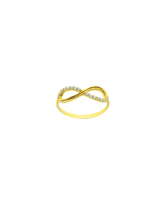 Inel din aur galben 14K INFINIT cu pietre laborator R13 Acasa