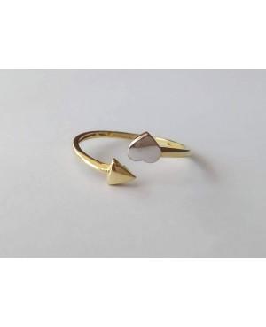 Inel ajustabil de aur galben si alb 14K dama model Geometric masura 17 Acasa