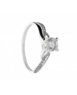 Inel de logodna Solitaire din aur alb 14K dama Acasa