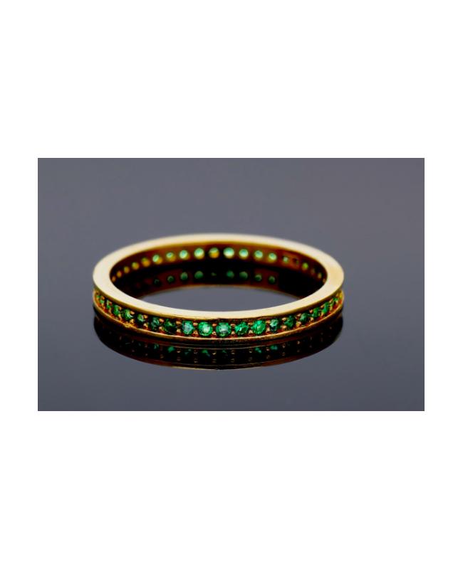 Inel din aur 14K dama tip verigheta Smarald R9 Acasa