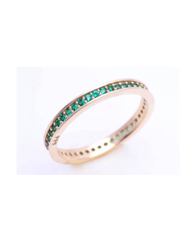 Inel din aur 14K dama tip verigheta Smarald R10 Acasa