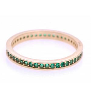 Inel din aur 14K dama tip tennis verigheta Smarald R15 Acasa