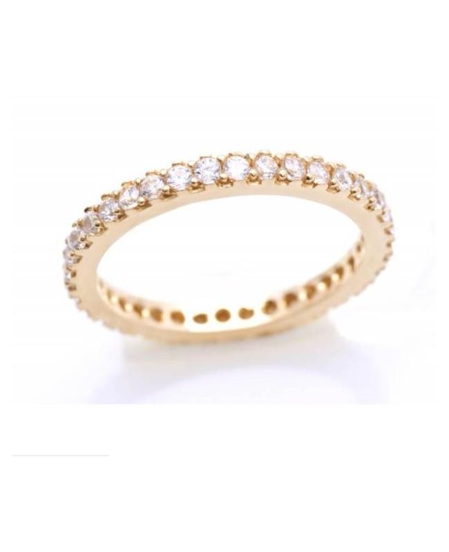 Inel din aur galben 14k tip verigheta cu pietre Zirconiu albe masura 10 Acasa
