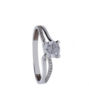 Inel de logodna Solitaire din aur alb 14k-Bijuterii aur Acasa