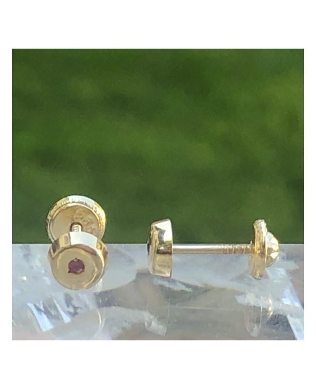 Cercei din aur 14k cu Rubin bebelusi nou nascuti 4 mm Cercei din aur