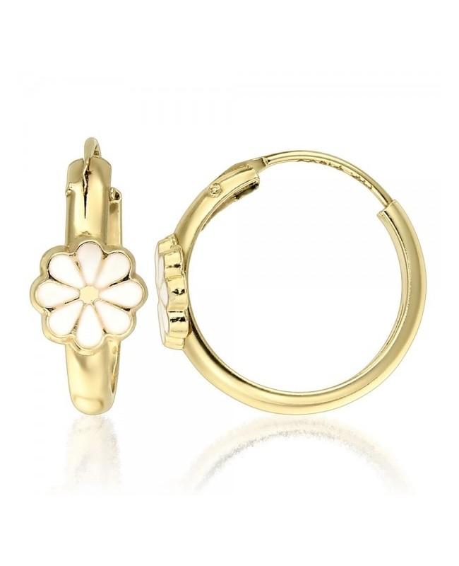 Cercei de aur pentru copii/fete cu Tortite Flori petale albe Cercei din aur