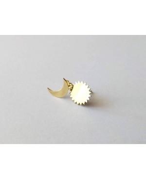 Cercei aur galben 14k dama cu surub Luna si soare 1 cm Cercei din aur dama