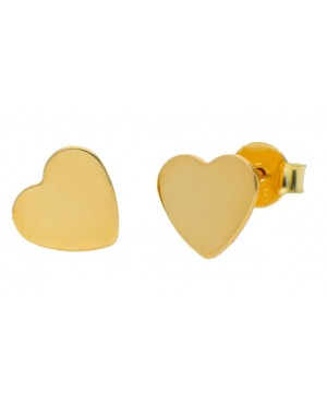 Cercei femei din aur galben 14K dama INIMI plate 7 mm Cercei din aur dama