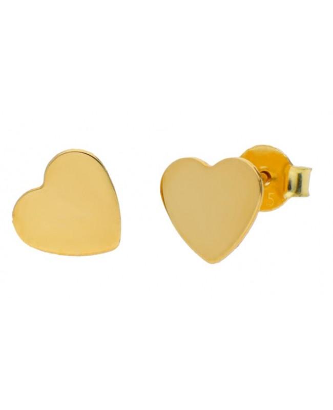 Cercei din aur galben 14K pentru femei dama INIMI plate 7 mm Cercei din aur dama