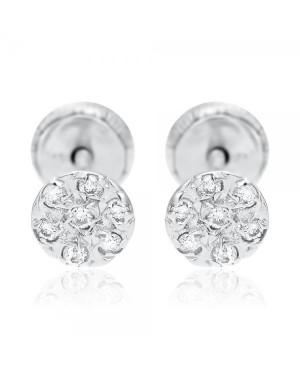 Cercei cu 7 diamante de aur alb copii bebelusi Rotunzi Cercei din aur