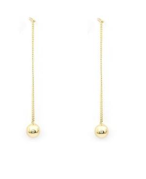 Cercei din aur lungi cu lantisor pentru femei Bilute 4 mm Cercei aur lungi