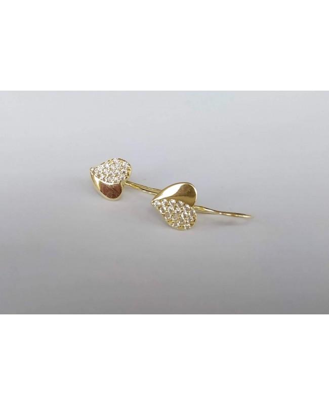 Cercei aur 14K Tortite fete copii Inimioare cu pietre albe 1.2 cm Cercei din aur