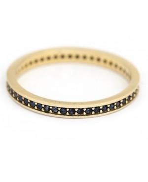 Inel din aur galben 14k tip verigheta cu pietre negre R7 Acasa