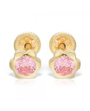 Cercei de aur 14k nou nascuti bebelusi floricele 5 mm cu piatra roz Cercei din aur