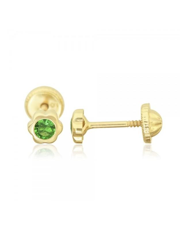 Cercei aur galben 14k Floricele 4 mm cu piatra verde Cercei din aur